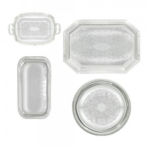 chrome serving trays